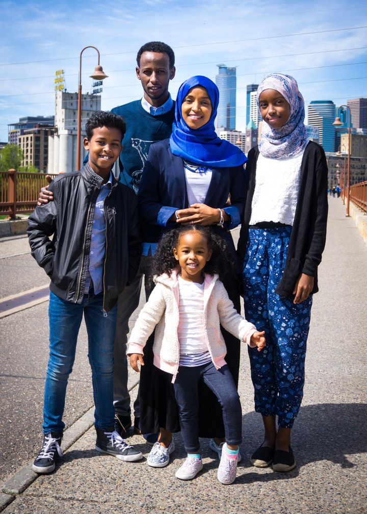 Ilhan Omar with her family.