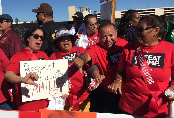 Protesters with Coalition for Humane Immigrant Rights of Los Angeles Action Fund demonstrate during Wednesday's event.