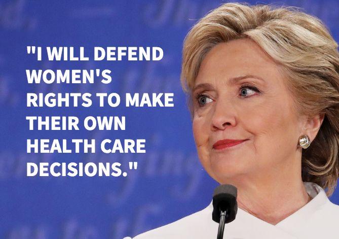 Hillary Clinton, speaking at the final presidential debate in Las Vegas.
