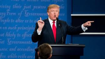 UNITED STATES - OCTOBER 19: Republican candidate Donald Trump and Democrat candidate Hillary Clinton square off at UNLV in Las Vegas on Oct. 19, 2016, for their final Presidential debate. (Photo By Bill Clark/CQ Roll Call)