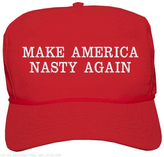 "Make America Nasty Again red baseball cap, <a href=""https://www.etsy.com/listing/472994516/make-america-nasty-again-donald-tr"