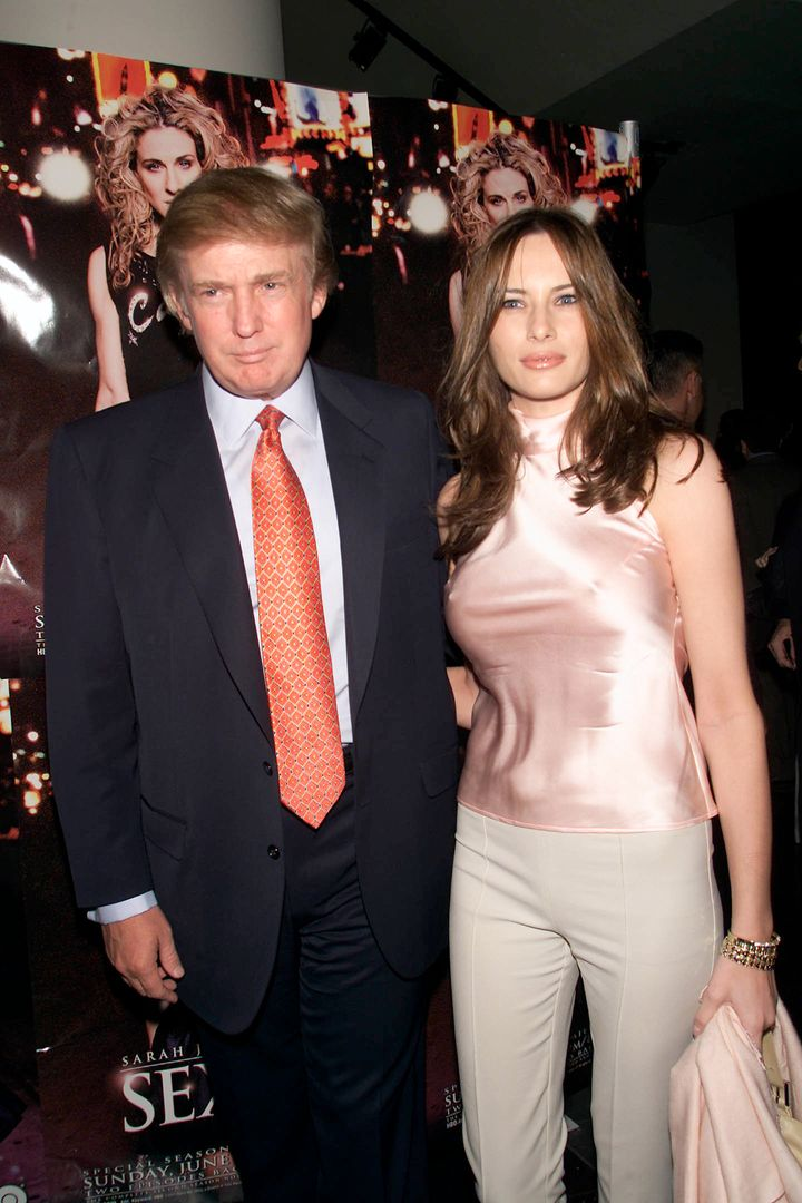 Donald Trump and girlfriend Melania Knauss arrive at the New York premiere of HBO's 'Sex and the City' in New York City on Ma
