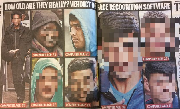 How Thursday's Daily Mail presented its 'verdict' on child refugee ages (pixellation by HuffPost