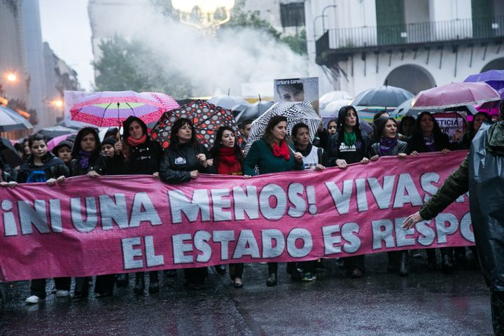 """The protest called """"MiércolesNegro"""" (Black Wednesday) was prompted by the abduction of Lucía Pérez, a sc"""