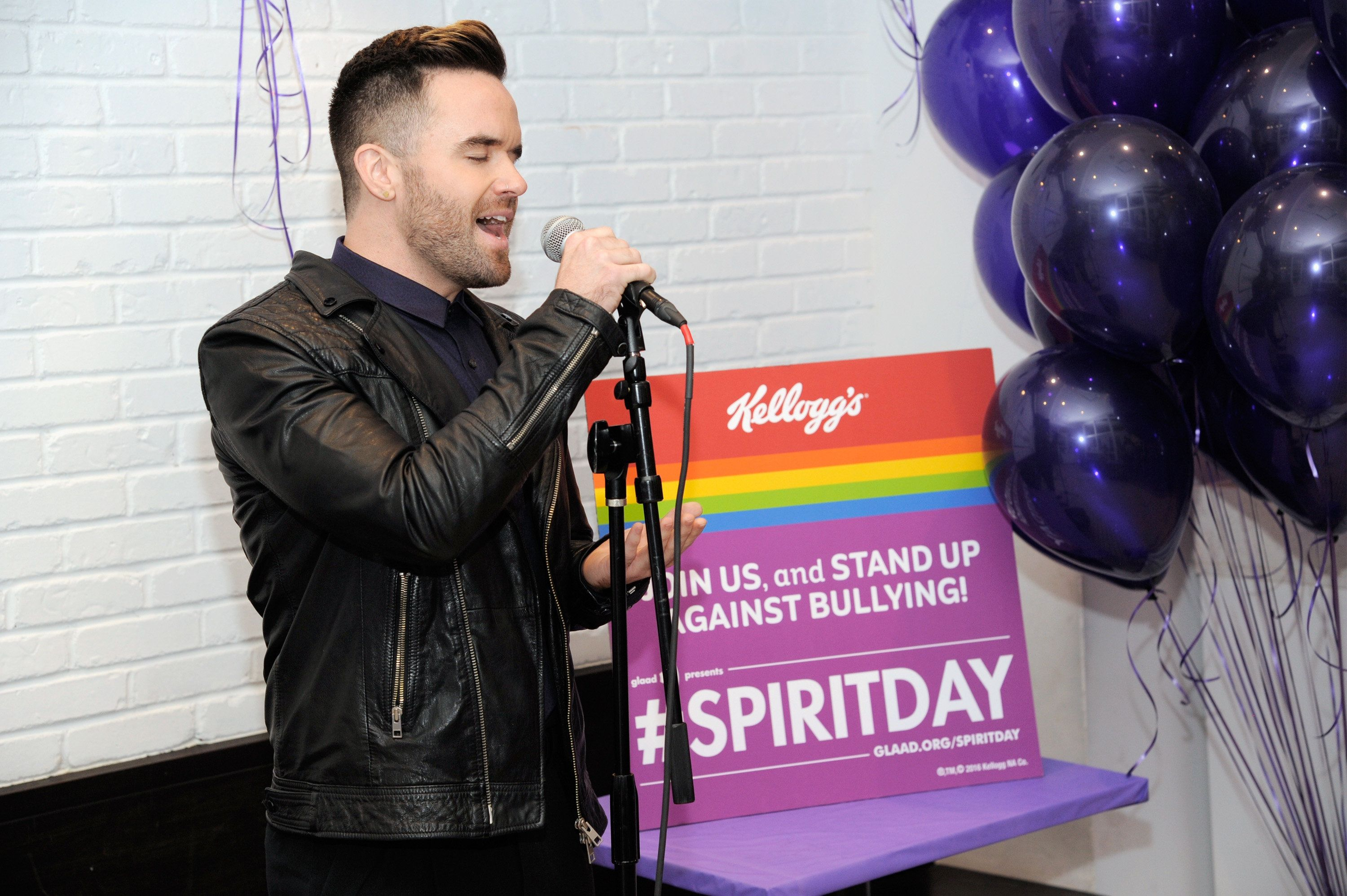 NEW YORK, NY - OCTOBER 20:  Singer Brian Justin Crum performs as Kellogg's celebrates Spirit Day with GLAAD in the Kellogg's NYC Cafe on October 20, 2016 in New York City.  (Photo by Matthew Eisman/Getty Images for Kellogg)