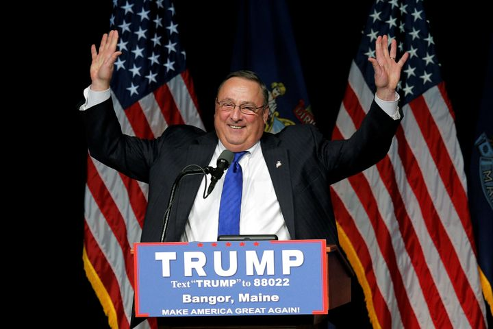 Maine Gov. Paul LePage introducing Republican presidential candidate Donald Trump in Bangor, Maine, on June 29.