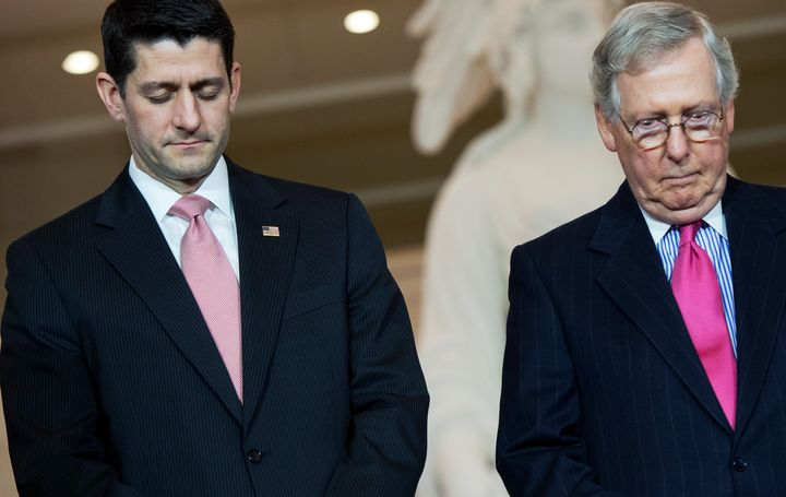 House Speaker Paul Ryan, left, and Senate Majority Leader Mitch McConnell have kept mum regarding Donald Trump's statement that he won't necessarily accept the results of November's election.