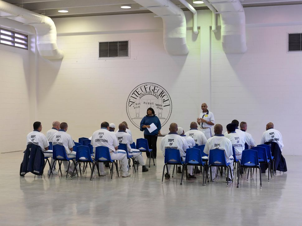 """Meeting of the committee of """"lifers"""" -- men with a life sentence -- in Georgia State Prison. This medium-security prison near"""