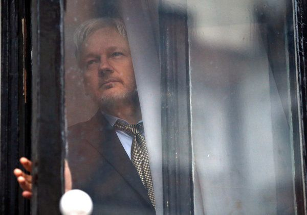 Pictured: Julian Assange, who has been hiding in the Ecuadorian embassy in London