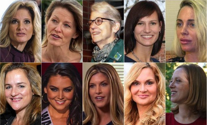 Some of Donald Trump's accusers, from top left: Summer Zervos, Kristen Anderson, Jessica Leeds, Rachel Crooks, Mindy McGillivray, Natasha Stoynoff, Cassandra Searles, Temple Taggart, Jill Harth, Cathy Heller