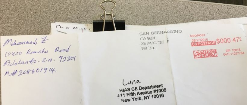 Letter sent by an Adelanto Detention Facility detainee as part of the HIAS/CIVIC volunteer pen-pal program.
