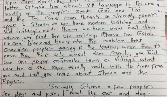 Letter summarizing the diverse languages, varied landscapes, and main industries of modern Ghana.