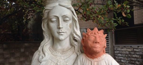 Vandalized Baby Jesus Gets A Weird New Clay Head