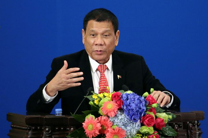 Philippines President Rodrigo Duterte makes a speech during the Philippines - China Trade and Investment Forum at the Great H