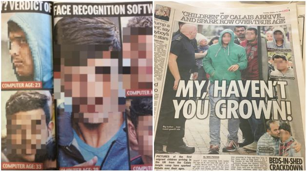 How the Daily Mail (left) and The Sun (right) used the images of refugees last week (Pixelation added...