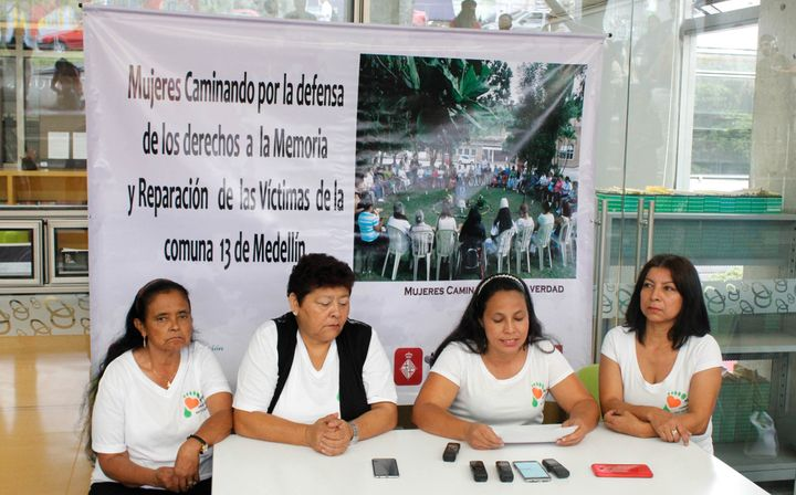 Members of the Women Walking for Truth at a press conference for the 14th anniversary of Operation Orion.