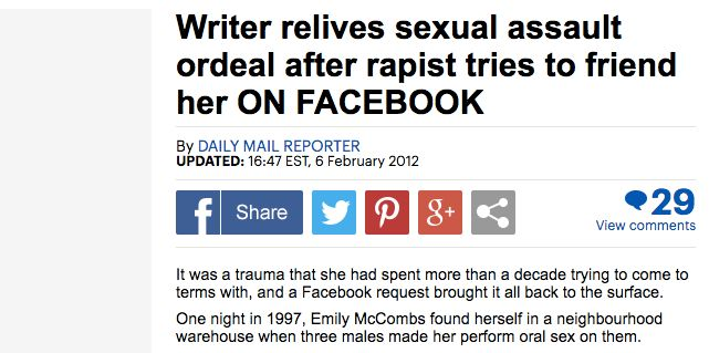 The headline the Daily Mail used when it picked up my story.