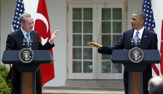 Turkish President Erdogan is holding a news conference with his U.S. counterpart, Barack Obama, in Washington D.C., in this 2