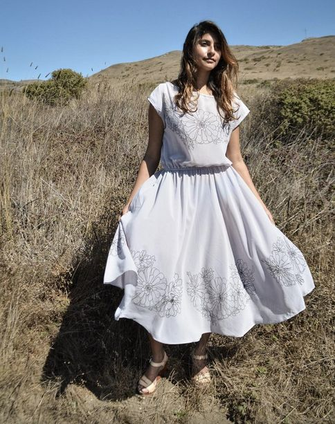 Tonlé dress, made from remnant chiffon with hand-printed design.