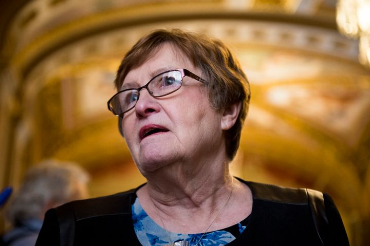 """Patty Judge, who is running for Senate in Iowa as a Democrat, on March 8.""""I don't see Chuck Grassley workin"""