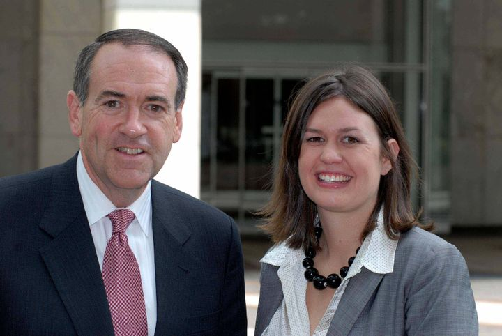 Former Arkansas Gov. Mike Huckabee (R) and his daughter Sarah speak to reporters in Washington, D.C., Aug. 26, 2007.