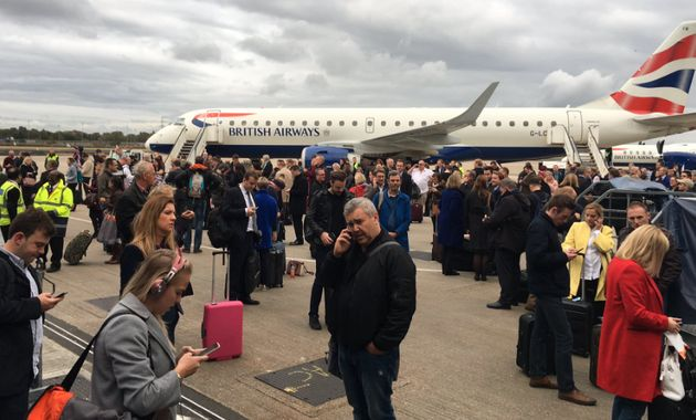 Photos posted to social media appear to show passengers waiting on the