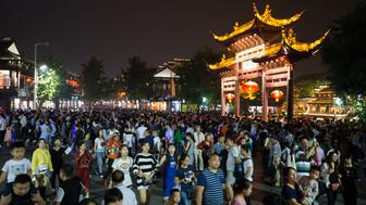 NANJING, CHINA - OCTOBER 05:  Tourists visit Nanjing Confucius Temple on the fifth day of National Day Holiday on October 5, 2016 in Nanjing, Jiangsu Province of China. China has seen a marked increase in tourist visits and spending during this week's national holiday.  (Photo by VCG/VCG via Getty Images)