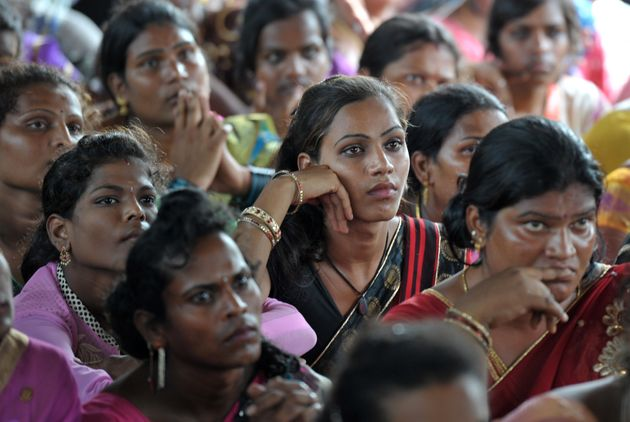 Indian transgender activists take part in a protest against the Protection of Rights Bill 2016 in Hyderabad...