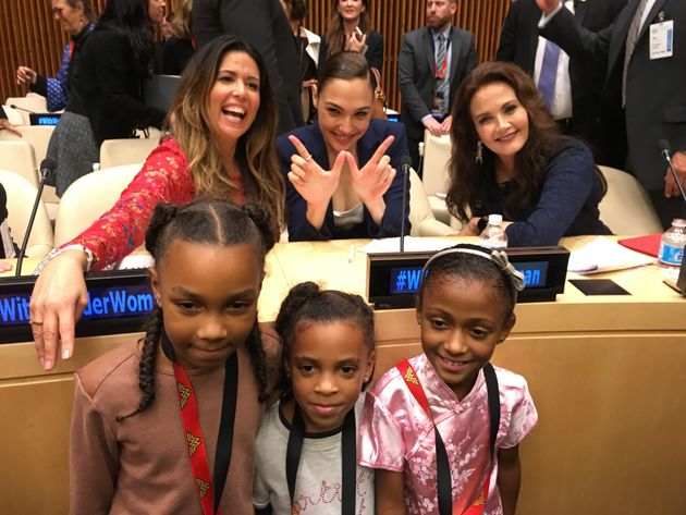 Wonder Woman Director Patty Jenkins, Gal Gadot, and Lynda Carter pose with young Wonder Woman fans on...