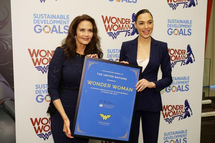 Lynda Carter, Gal Gadot accept announcement of Wonder Woman as UN Ambassador of Empowerment
