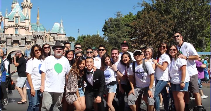 Friends and family made the trek to Disneyland for the proposal.
