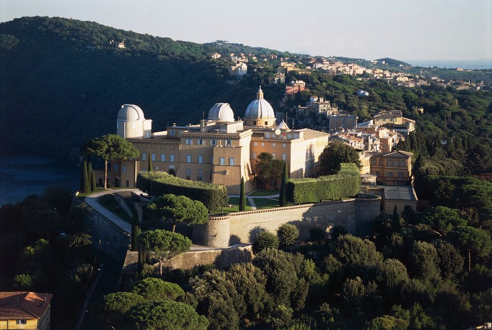 An aerial view of the papal palace of Castel Gandolfo inLazio, Italy.