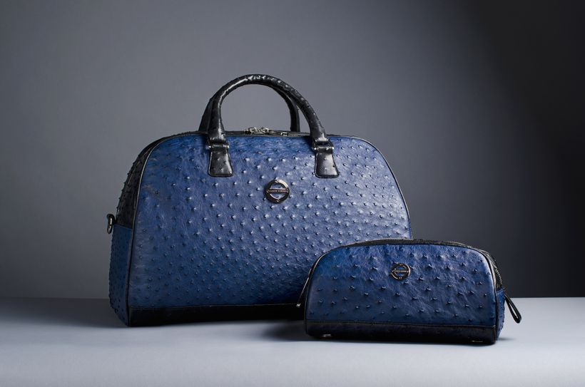 The Madison Sports Bag in Iris Blue and Black Ostrich