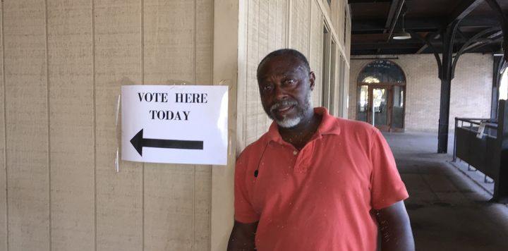 Greg Pope prepares to cast his ballot for Hillary Clinton at an early vote site in Macon, Georgia, this week.