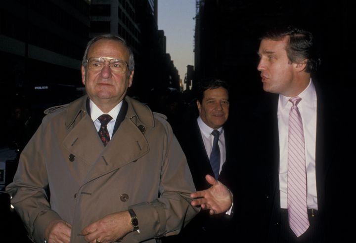(L-R) Lee Iacocca, Bill Fugazy and Donald Trump attend Steinbrenner Wedding Ceremony on November 7, 1987 at St. Patrick's Cat