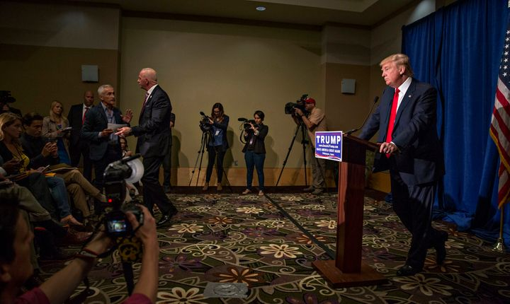 The moment security began attempting to remove Jorge Ramos from Donald Trump's Iowa press conference in August 2015.