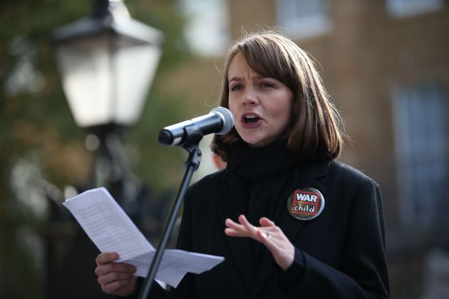 Carey Mulligan speaks during a protest calling on the British government to take action in