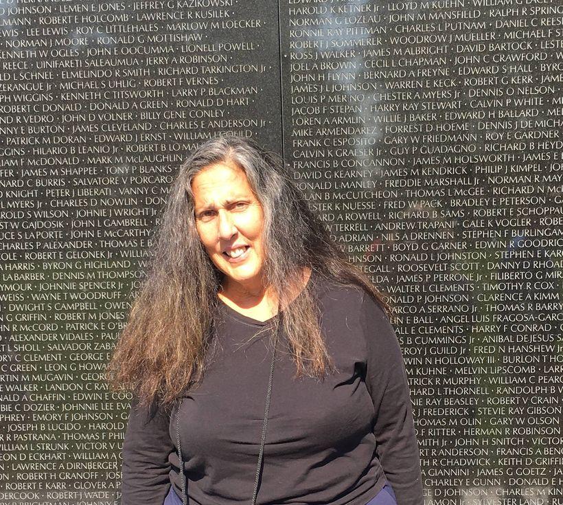 Mary Ann Vecchio at the Vietnam War Memorial