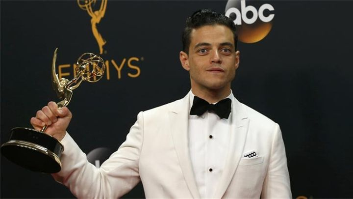 Rami Malek receiving his award for Outstanding Lead Actor In A Drama Series for Mr Robot.