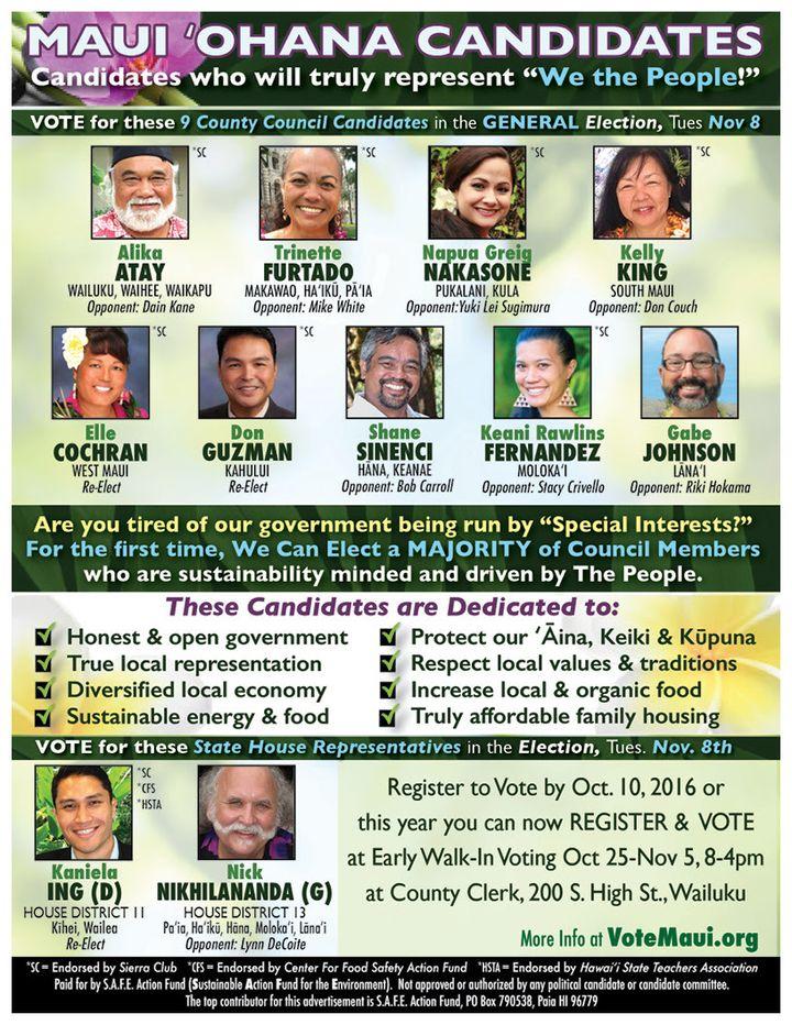 The Maui Ohana Candidate slate for County Council