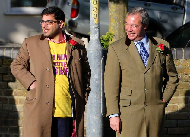 Nigel Farage with Raheem Kassam during the 20105 general