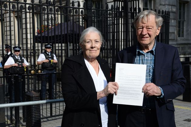 Lord Alf Dubs, pictured with Vanessa Redgrave, delivers a letter to 10 Downing Street calling for...