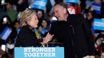 PHILADELPHIA, PA - OCTOBER 22:  Hillary Clinton and Tim Kaine campaign for President and Vice-President of the United States at University of Pennsylvania on October 22, 2016 in Philadelphia, Pennsylvania.  (Photo by Taylor Hill/WireImage)
