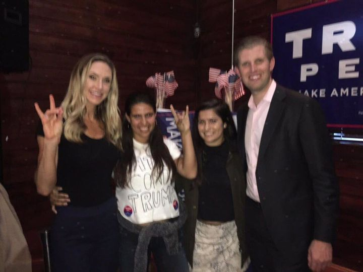 Sisters Annie Cardelle, 23, and Ceci Cardelle, 17, pose for a photo with Donald Trump's son Eric and his wife, Lara.