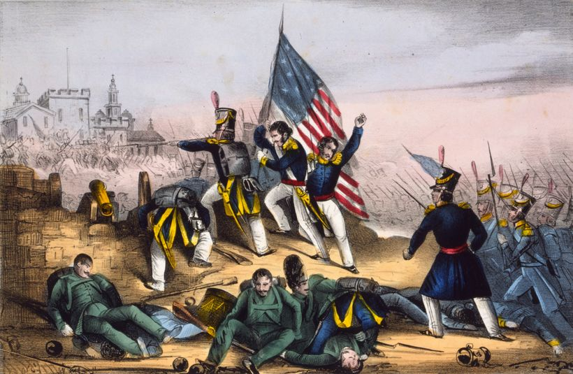 US Marines at the battle of Chapultepec. Mexico lost roughly half of its territory to the United States in the nineteenth cen