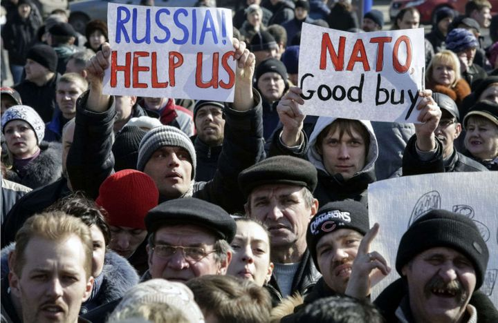 <p>Pro-Russian protesters in Donetsk, Ukraine, March 8, 2014.</p>
