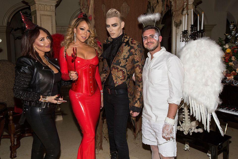 LOS ANGELES, CA - OCTOBER 22:  (L-R) Stella Bulochnikov, Mariah Carey, Kristofer Buckle, and Brett Ruttenberg attend Mariah C