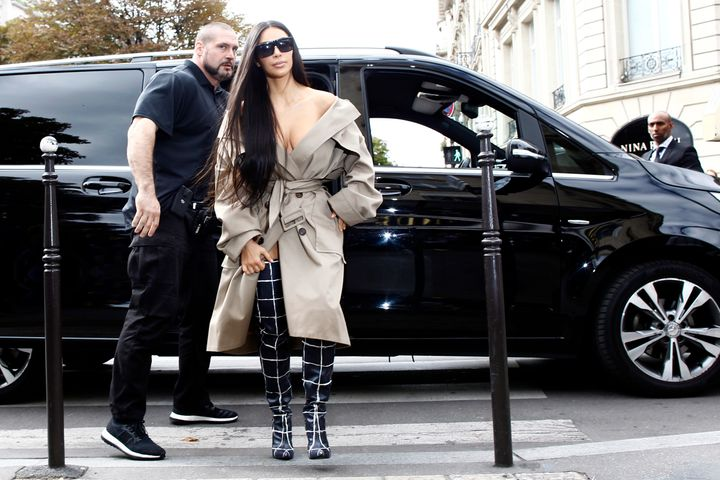 Kim Kardashian out and about in Paris the day before she was robbed.