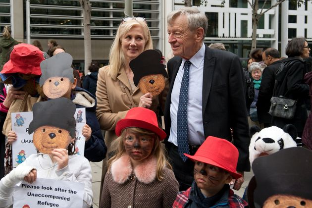 Actress Joely Richardson (left) with Labour peer Lord Dubs (right) and children dressed as Paddington...