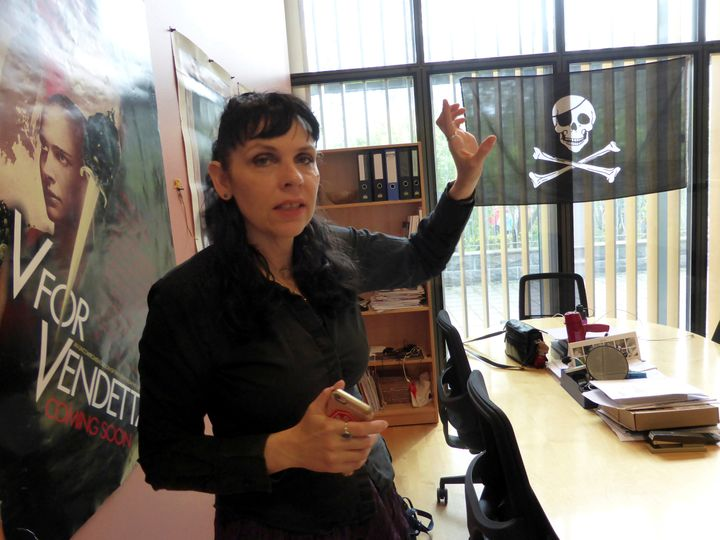 Birgitta Jonsdottir, leader of the Pirate Party of Iceland, poses for a picture at the party's office in the Icelandic Parlia